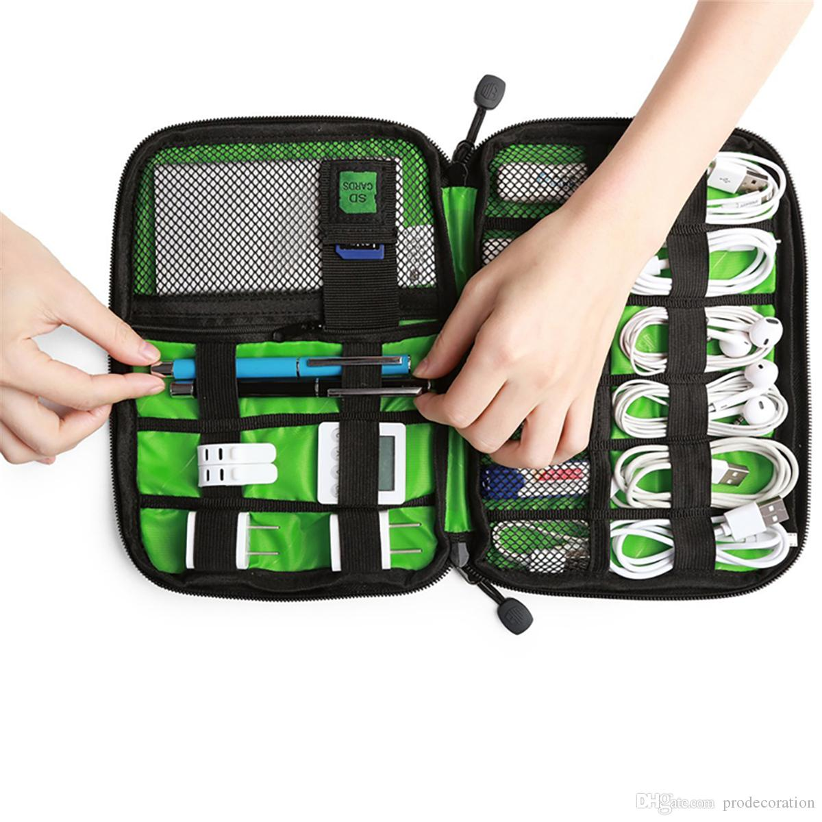 Digital accessories Storage Bag Shockproof USB Cable Earphone Flash Drive Organizer Digital Gadget Holder Cellphone Mobile Charger Case