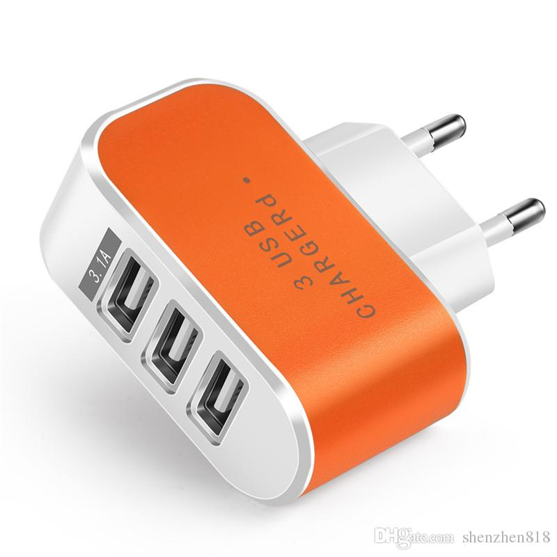 Candy Color US EU Plug 3 USB Wall Chargers 5V 3.1A LED Adapter Travel Convenient Power Adaptor with triple USB Ports For Mobile Phone B-SC