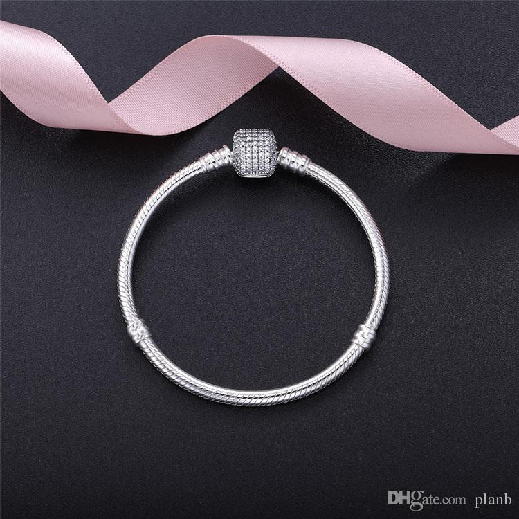 Gümüş kutu ile Kadınlar Bilezikler Beyaz Mikro Kaplamalı CZ Elmas Bilezik Logosu Pandora Avrupa Charms Boncuk için Damgalı