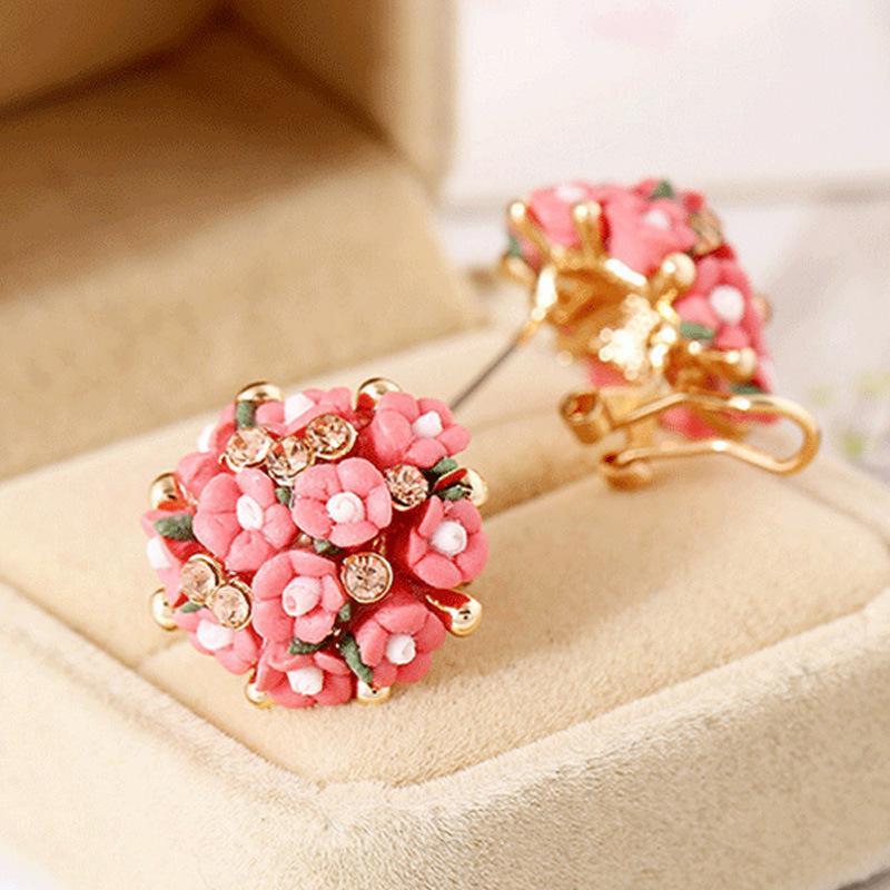 142df9a049 2018 new multi color rose earrings for ladies, Korean designer jewelry,  ceramics cute earrings, flower designer jewelry