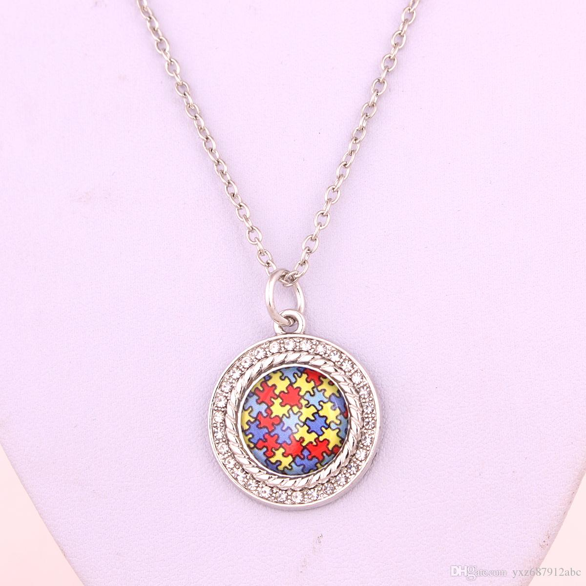 New Arrival Drop Shipping Autism Hope Rhodium Plated Crystal Autism Awareness Puzzle Piece Round Pendant With Link Chain Necklace