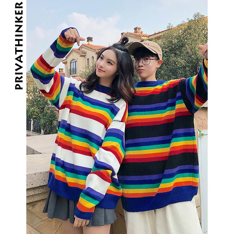 c699b3a7b3 2019 Men Winter Rainbow Sweaters 2018 Mens O Neck Colorful Warm Pullover  Sweaters Couple Autumn Korean Fashions Clothes From Donahua