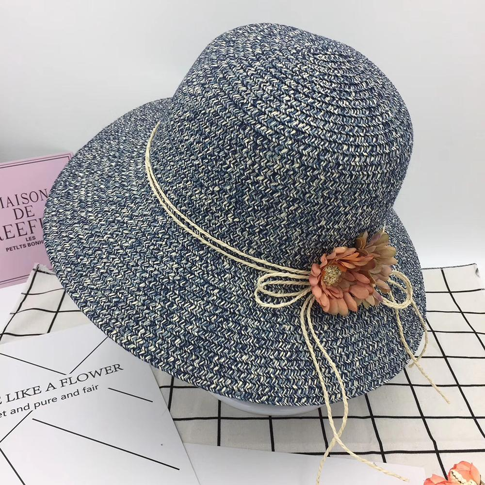 2c382730269 Summer Holiday Sun Hats For Women Foldable Straw Large Brim Summer Hats  Vintage Simple Folding Flower Beach Sun Hat Caps New Scala Hats Wholesale  Hats From ...