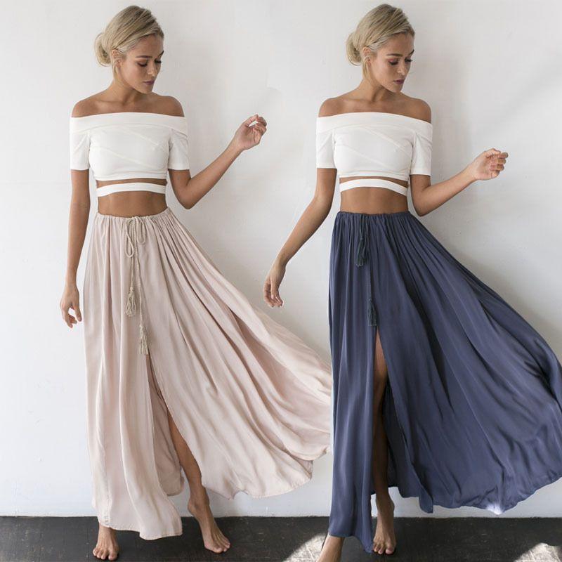 6f82f45f01d4e Women's Gypsy Boho Tribal Floral Skirt Maxi Solid Summer Beach Long Casual  Skirt