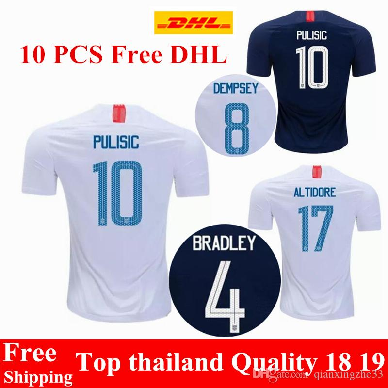 Wholesale DHL Thai Quality 2018 2019 USA PULISIC Soccer Jerseys 18 ... f1aa6309d