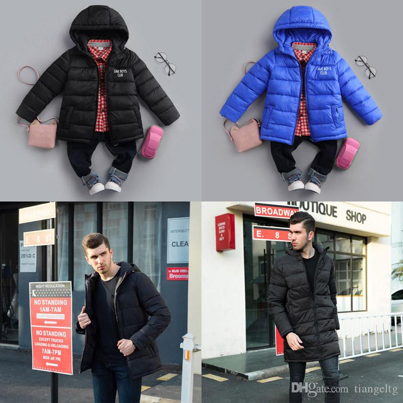 9e373cee0 Family Down Jackets Suits Kids Hooded Polyester Add Cashmere Warm ...