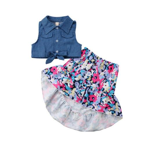 Toddler Kids Baby Girls Clothes Sets Denim T-shirt Tops Vest Skirt Floral Cotton Cute Outfits Clothing Set Girl 9M-4T