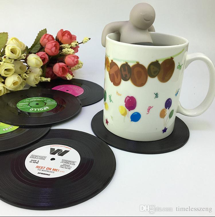 6 pz / set Vintage Vinyl Record Bevande Sottobicchieri Nostalgico Retro CD antiscivolo Tazza di Caffè Tazza Mat Resistente Al Calore Tavolo Tovaglietta