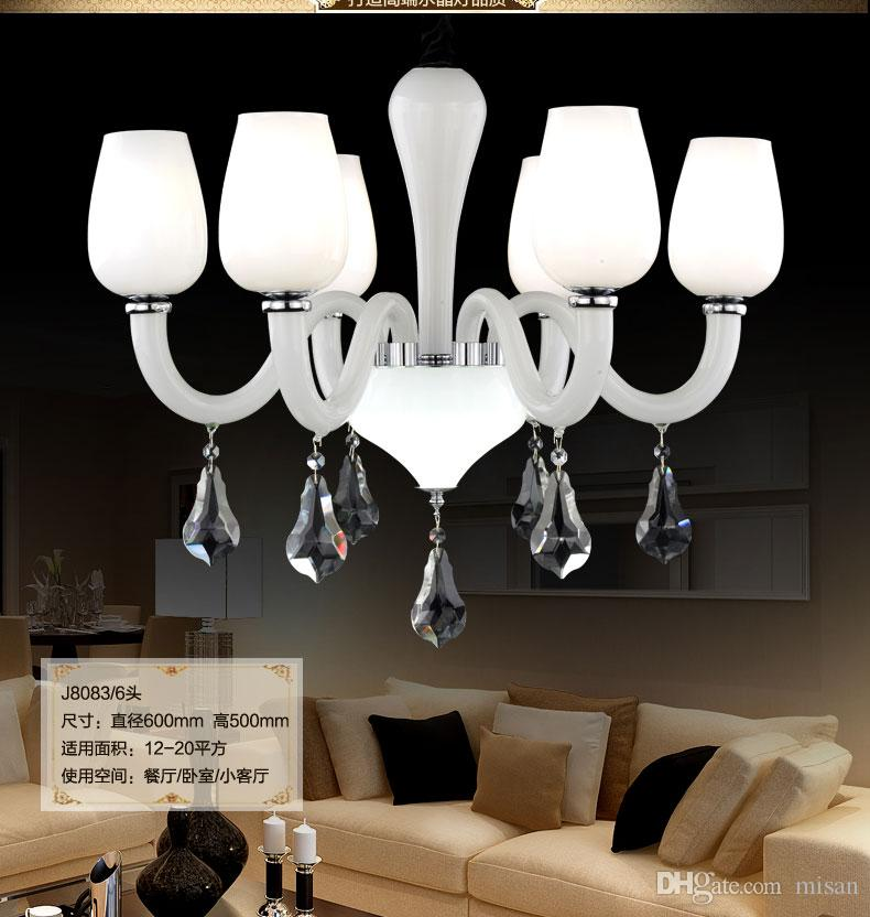 Großer Diskont-moderner Kristallleuchter mit Tropfenlicht-Kristallleuchter K9 Lustres De Cristal in der bereiften weißen Farbe für Hotel