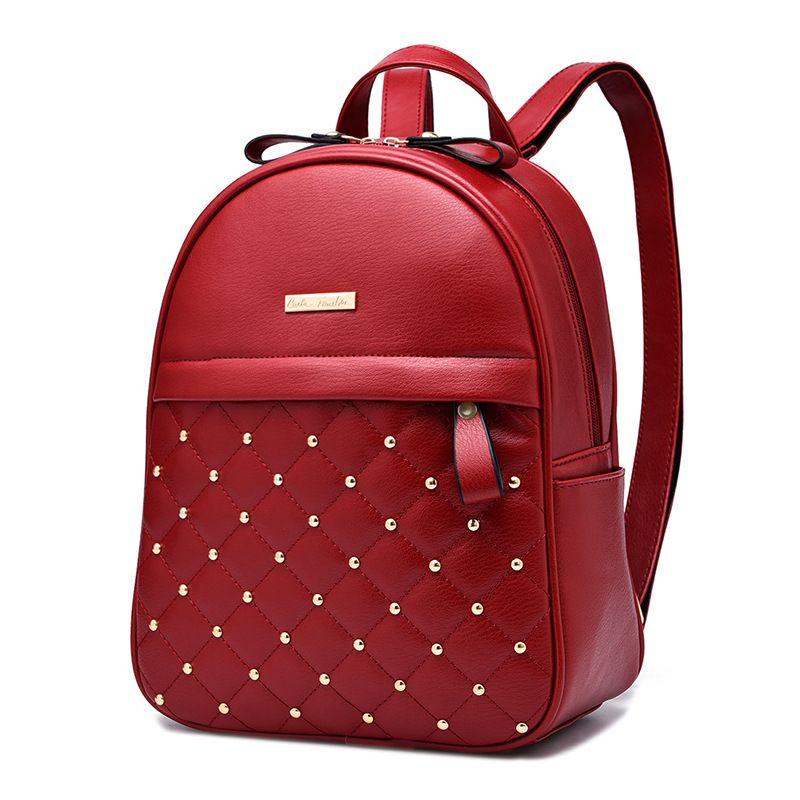 7daf1d9460f New style women rivet double shoulder bag European and American fashion  college students bag single shoulder handbag girl lady package