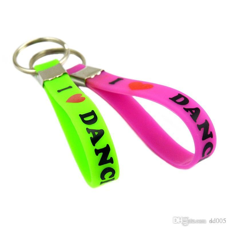 Silicone Key Chain Wristband Dancer Fashion Bracelet Printed I Love Dance Hand Ring Gift For Benefits Hot Sale 2 6ad WW