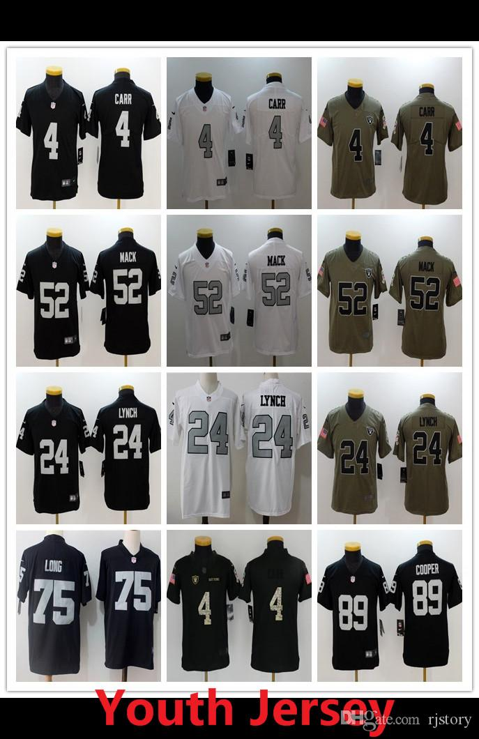 7e599fd35 New Youth 4 Derek Carr Oakland Raiders Football Jersey 52 Khalil ...