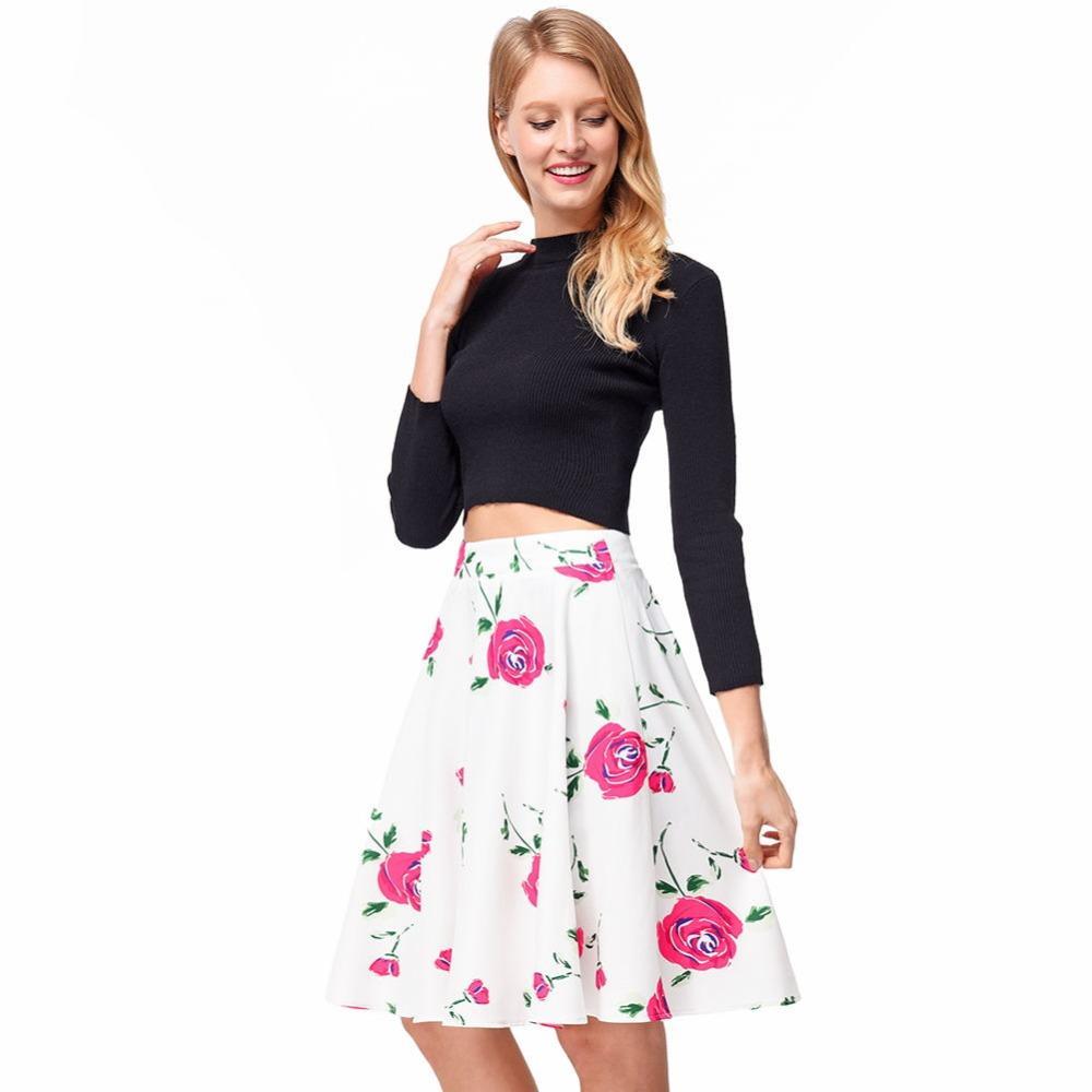 7a69ed5873a Acheter Nouveau 2018 D été Femmes Jupes Casual Floral Rose Jupes ...
