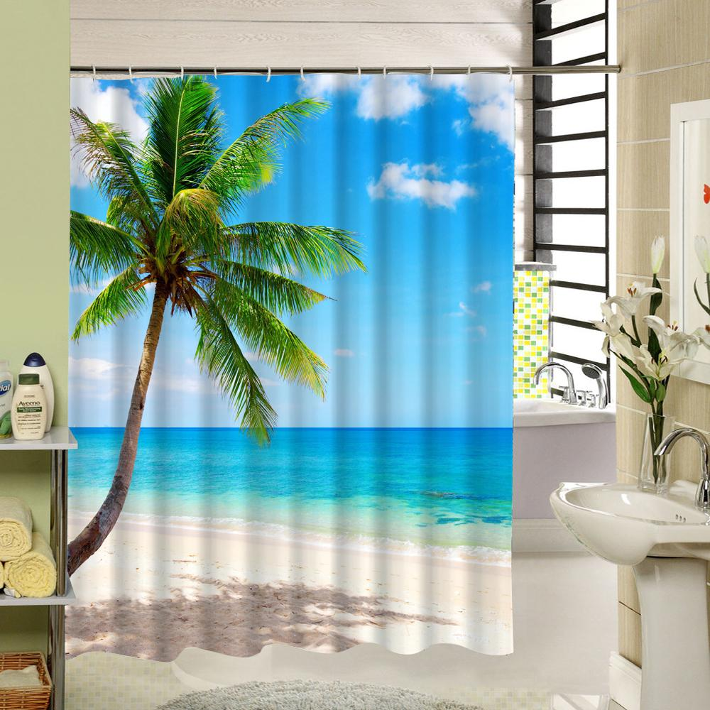 2018 Tropical Beach Shower Curtain Palm Tree Star Fish Pattern 3d Print Fabric Washable Bath For Bathroom Decor Accessory From Lienal