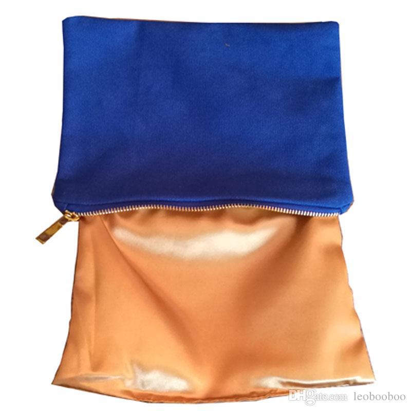 Saco de cosmética portátil grande armazenamento de metal com zíper bolsa em branco bolsa de lona bolsa de maquiagem caso