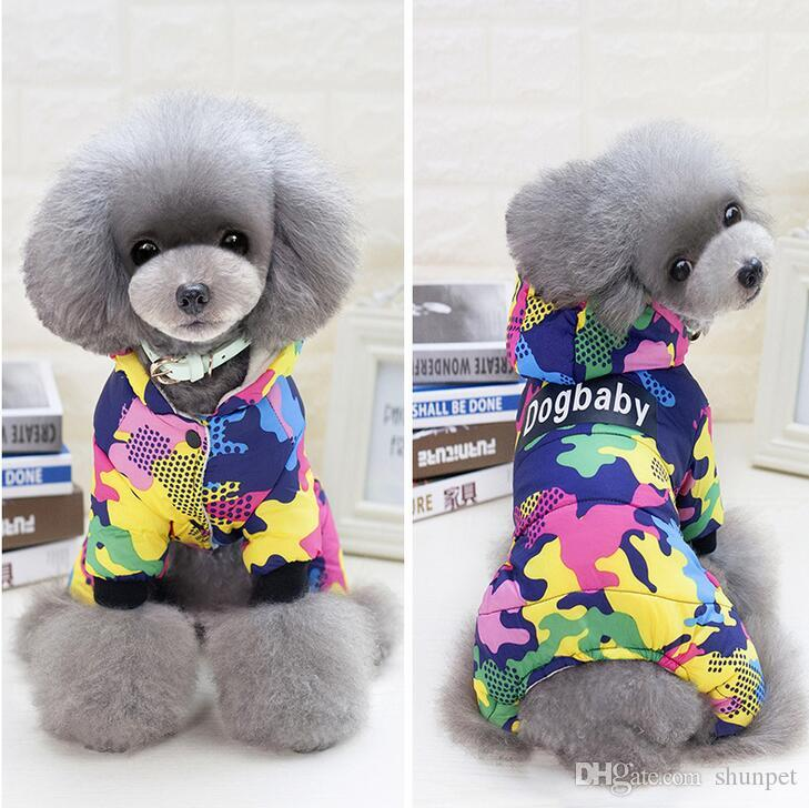 536713690750 New Thickness Dogbaby Pet Four Legs Cotton Hooded Clothes Puppy Dog ...