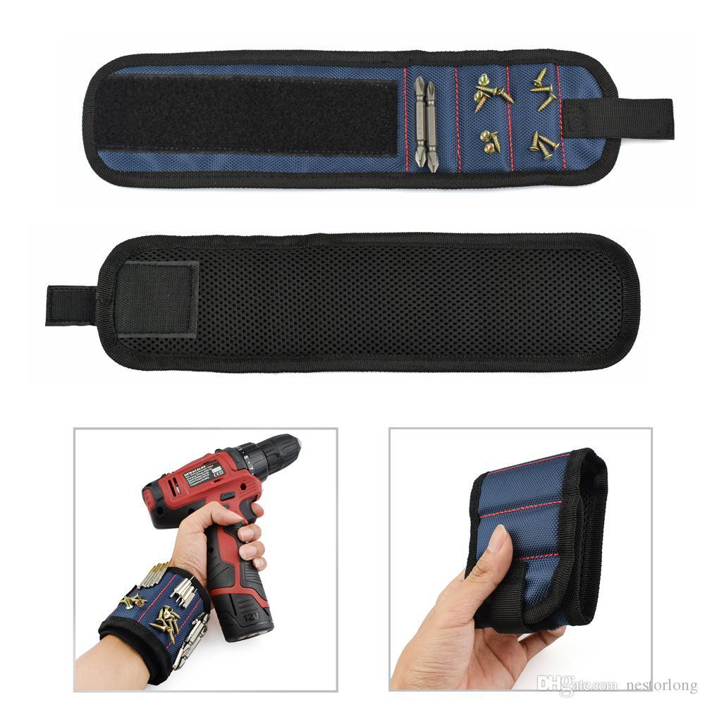 Braccialetto magnetico Borsa attrezzi portatile Elettricista Borsa attrezzi da polso Viti da cintura Chiodi Punte da trapano Strumenti di riparazione del supporto