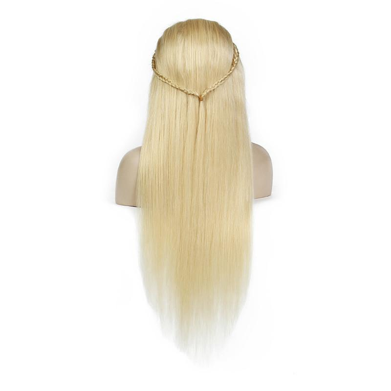 Silk Straight 613 Lace Wig Brazilian Virgin Unprocess Hair 100% Human Hair Blonde Front Lace Wig For Sale Bleached Blonde Glueless Wigs