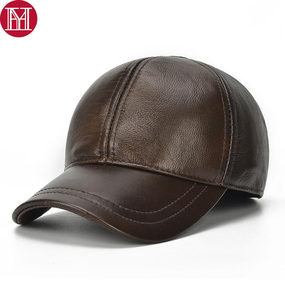 4c2f282de 2018 Brand Men Real Cowhide Leather Caps Male Fall Winter Genuine Real Cow  Leather Baseball Hats Casual Earflap Cap