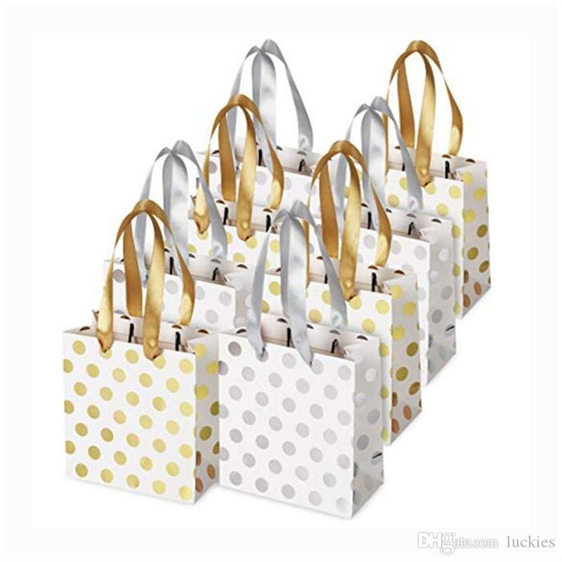 Paper Small Gold Silver Metallic Dots Gift Bags With Ribbon Handles For Bridal Wedding Birthday Christmas Holidays 0307