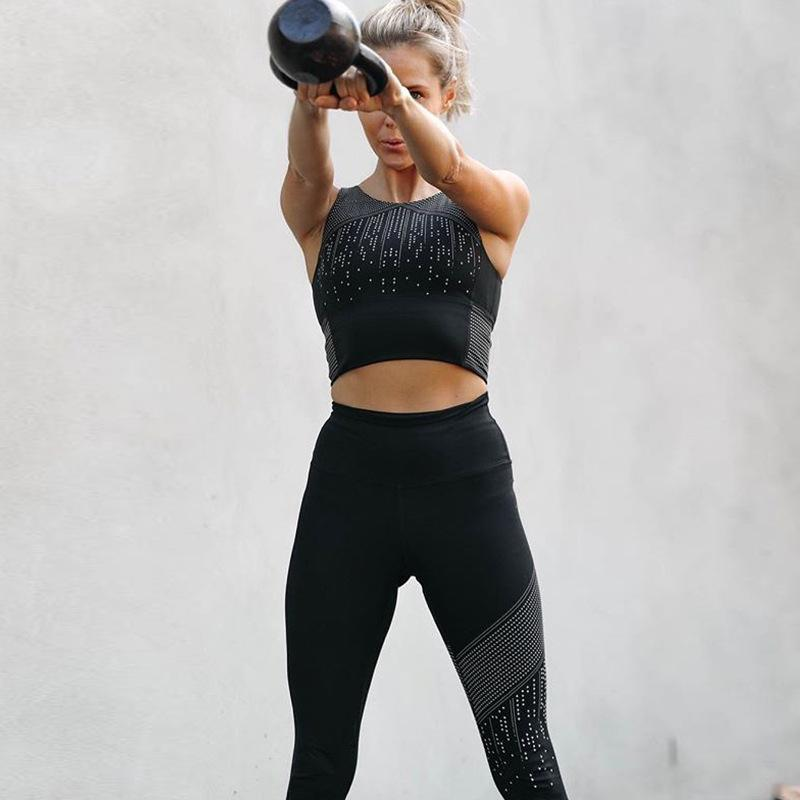 59f4e1fb425 2019 Sports Wear For Women Gym Equipment Workout Outfits Polka Dot Print Sports  Crop Top And Leggings Fitness Yoga Two Piece Set 35 From Yiyunwat