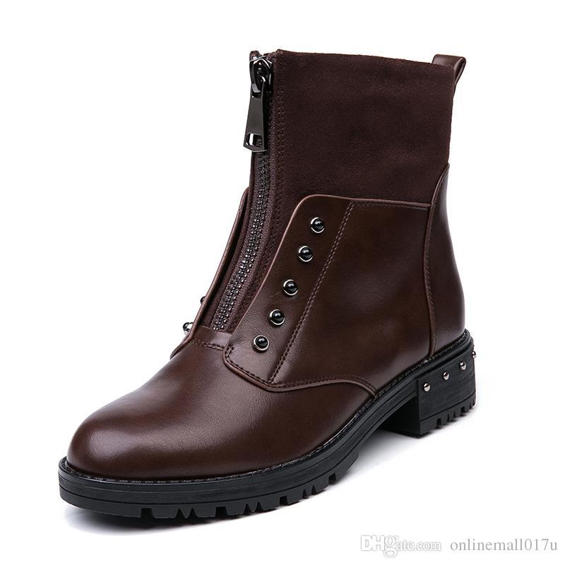 861ab85c335b1 Compre Cremallera Frontal Negro Botines Para Mujer Piel Caliente Plantilla  De Felpa Mujeres Botas Bajo Talón Fresco Estilo Otoño Mujer Zapatos A   52.27 Del ...