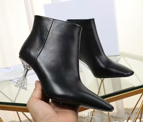 21ed21222e6 Women 3 Style zip Crystal bottom ankle boots Genuine leather Sexy Mid heel  boots pointed toe party dress shoes women size 35-40