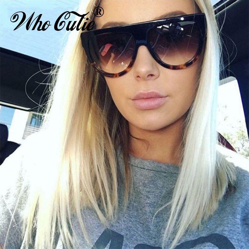 1fa0f0d04 WHO CUTIE 2018 Oversized Cat Eye Sunglasses Women Brand Designer Kim  Kardashian Vintage Flat Top Sun Glasses Shadow Shades OM369 Discount  Sunglasses Sports ...