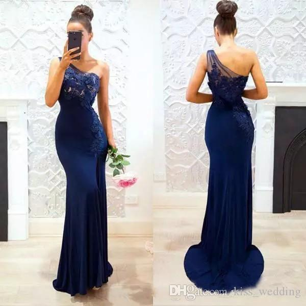 Graceful Sheath Long Bridesmaid Dress One-Shoulder Maid of Honor Gown Dark Navy Appliqued Sheer Straps Dresses Party Evening