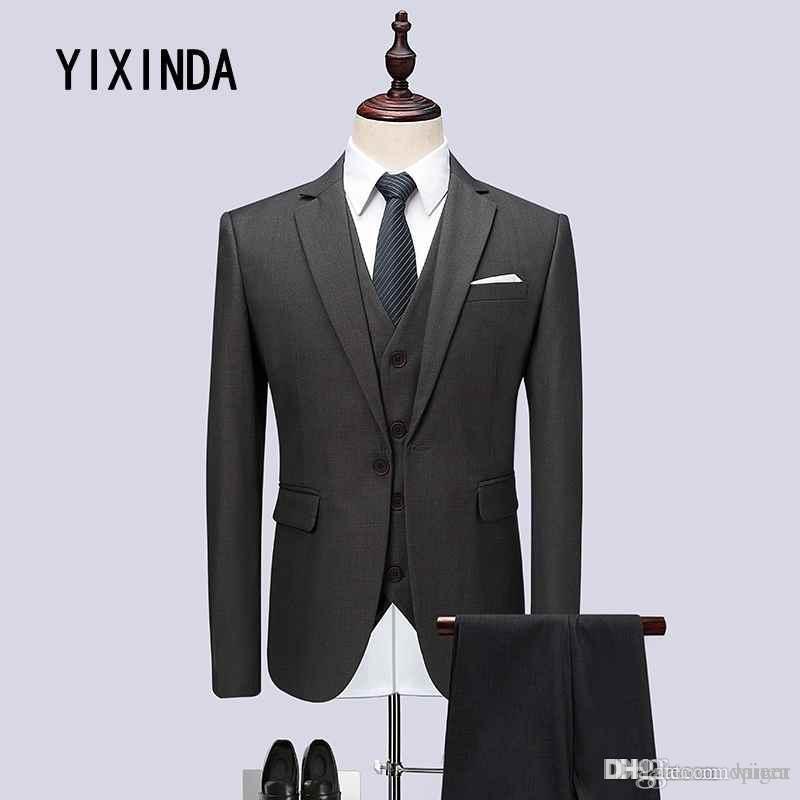 b0e73954a103 YIXIND Brand (Jacke + Weste + Hose) Hochwertiger Anzug für Herren 2018.  Hochzeitskleid Anzug Business casual Anzug Größe 6XL