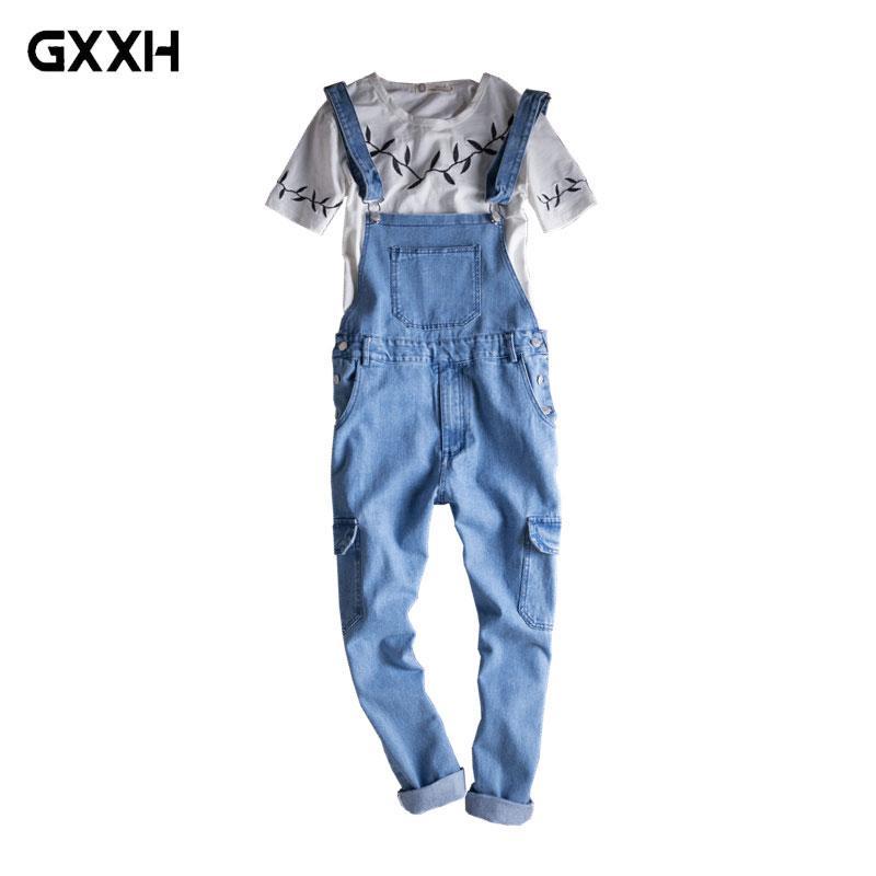 2018 Men S Slim Light Blue Denim Overalls Casual Korean Fashion Jeans Multi  Pocket Pants Women S Sling Workwear Size M L XL XXL UK 2019 From Cactuse b9a611c31a