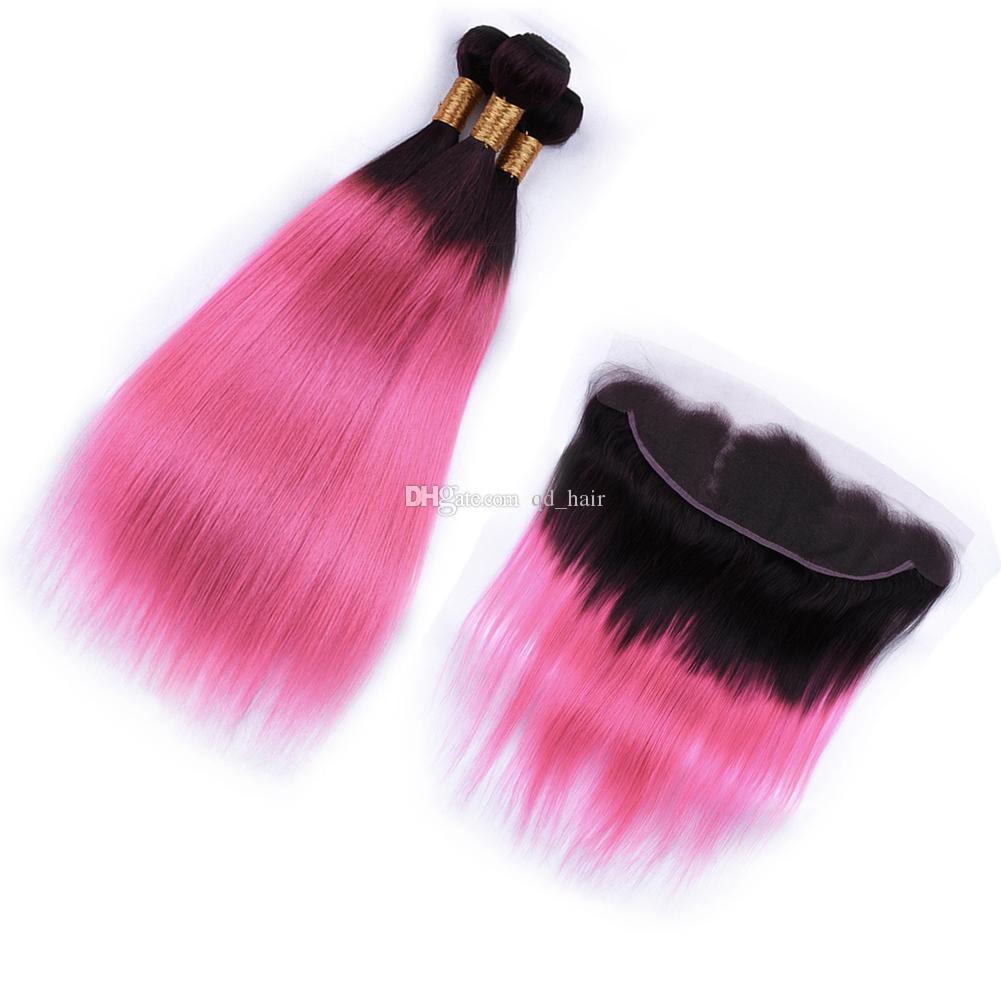 Темный корень Ombre розовые пучки волос с кружевом фронтальной бразильской шелковистой прямой 1b розовые волосы с уха до уха полный кружева фронтальной 13 * 4