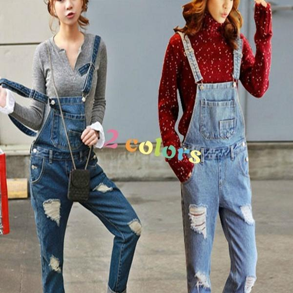 d1aad1f96c8 2019 Streetwear Holes Loose Denim Overalls Rompers Womens Jumpsuit Casual  Girls Long Suspenders Jeans Ladies Trousers From Tighttt
