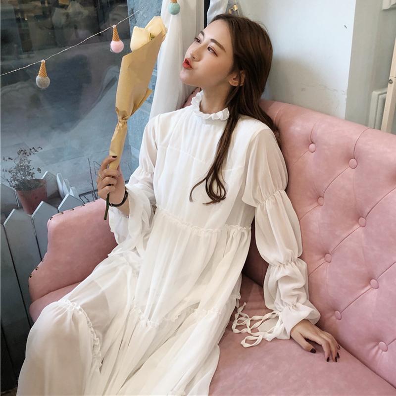 cbf261fdeae Japanese Summer Women Ruffle Fairy Dresses Korean Vintage Elegant Bottoming Dress  Mori Girl Lolita Long Sleeve Lace White Dress Short To Long Dresses ...