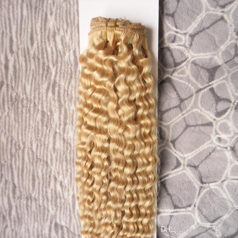 Brasilianische verworrene lockige Haar-Webart-Bündel 100g 1 Stück 100% Remy Menschenhaar-Bündel geben Verschiffen frei 613 Blondine