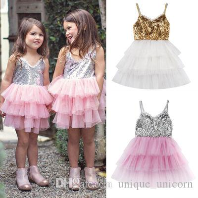 2e57757c 2019 Fashion Kids Clothing Summer Girls Sequin Tulle Tutu Dresses Girls  Wedding Pageant Princess Party Dresses Toddler Clothing From  Unique_unicorn, ...