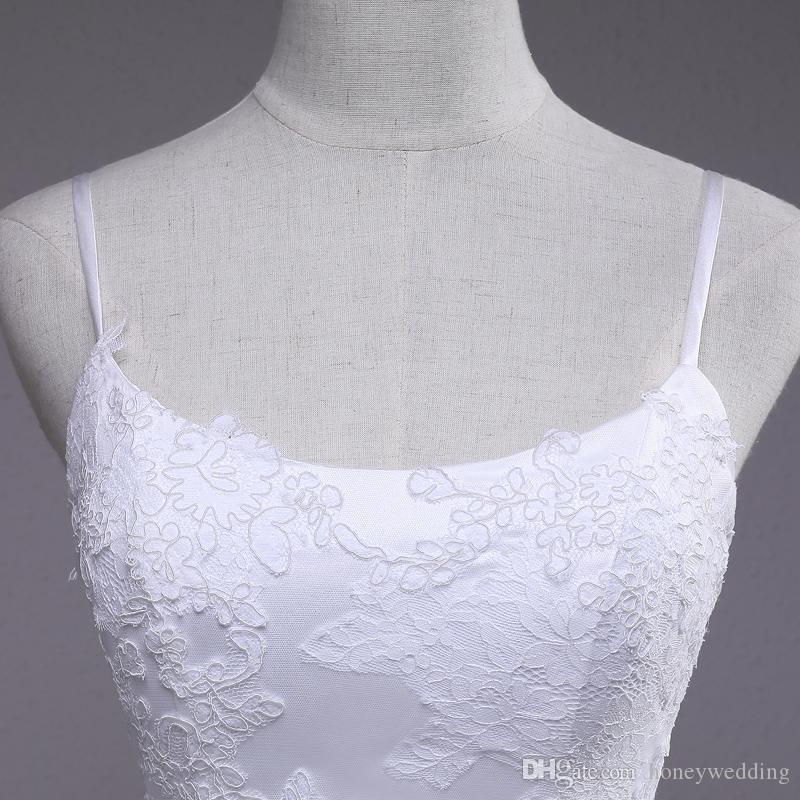 2018 Robe De Bal Robe De Mariage Bretelles Spaghetti Dentelle Appliques Ruched Backless Bowknot Garnis Robes De Mariée Sur Mesure