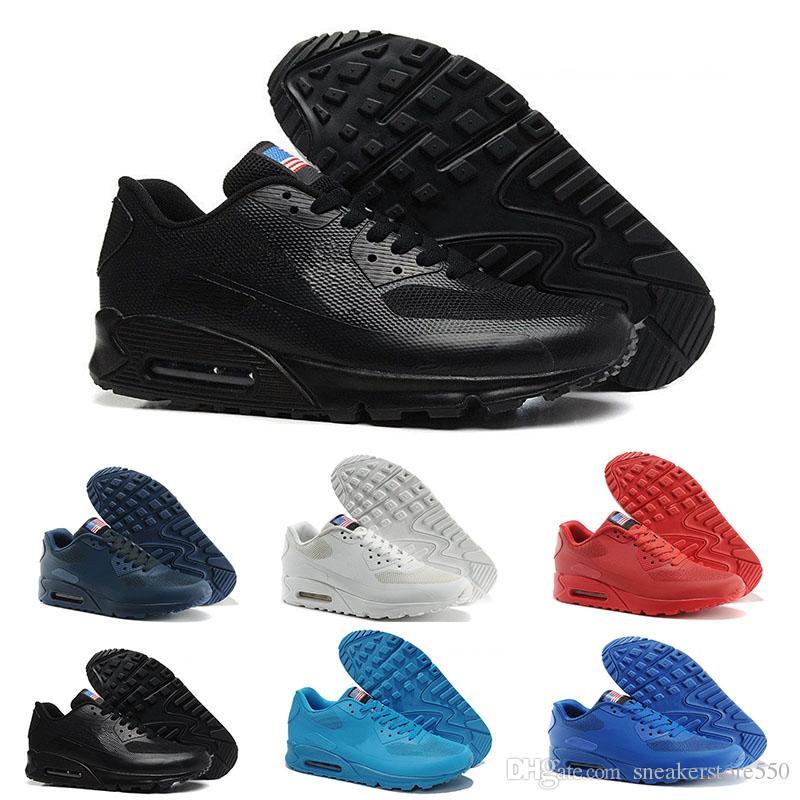 best authentic fba40 03e95 Acheter Nike Air Max 90 Flag America 2018 HY PRM QS 90 Hommes Femmes  Chaussures Casual 90s HyperS Fusible Drapeau Américain Noir Blanc Marine  Bleu Or Argent ...