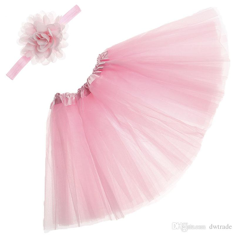 Baby Girls Tutu Dress Solid Color Skirt Dresses Set with Hairband Newborn Baby Tutu Dresses Infat Photographic Clothing Princes Party Dress