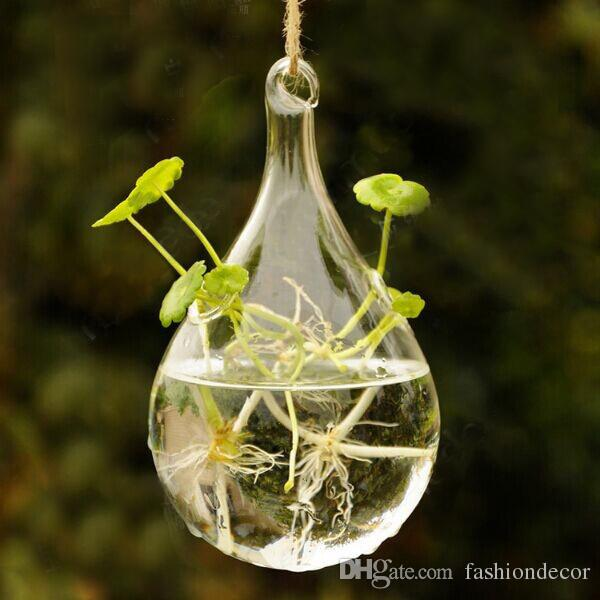 New Clear Glass Hanging Vase Bottle Terrarium Container Plant Pot