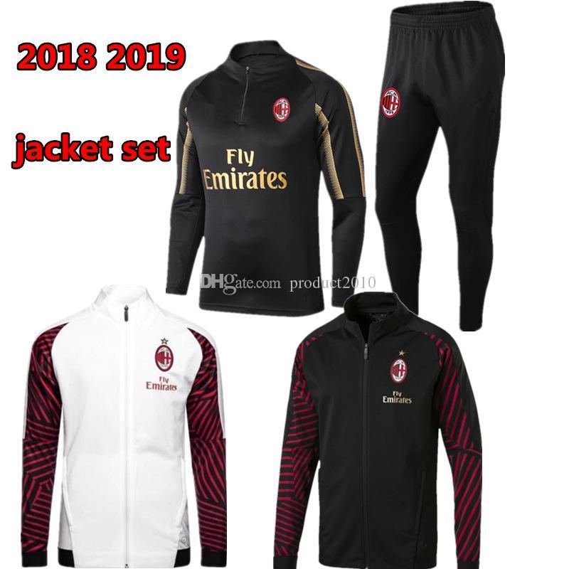 Compre 2018 2019 AC Milan Conjunto De Chaqueta De Chándal Sobreviviente  HIGUAIN CALHANOGLU Cremallera Completa Chaqueta De Fútbol Conjunto De Ropa  Deportiva ... cc9e4a0834a4f