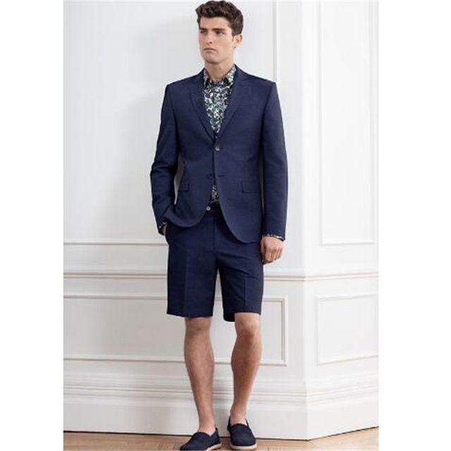 2019 2018 New Blue Wedding Men Suit With Short Pants Fashion Elegant