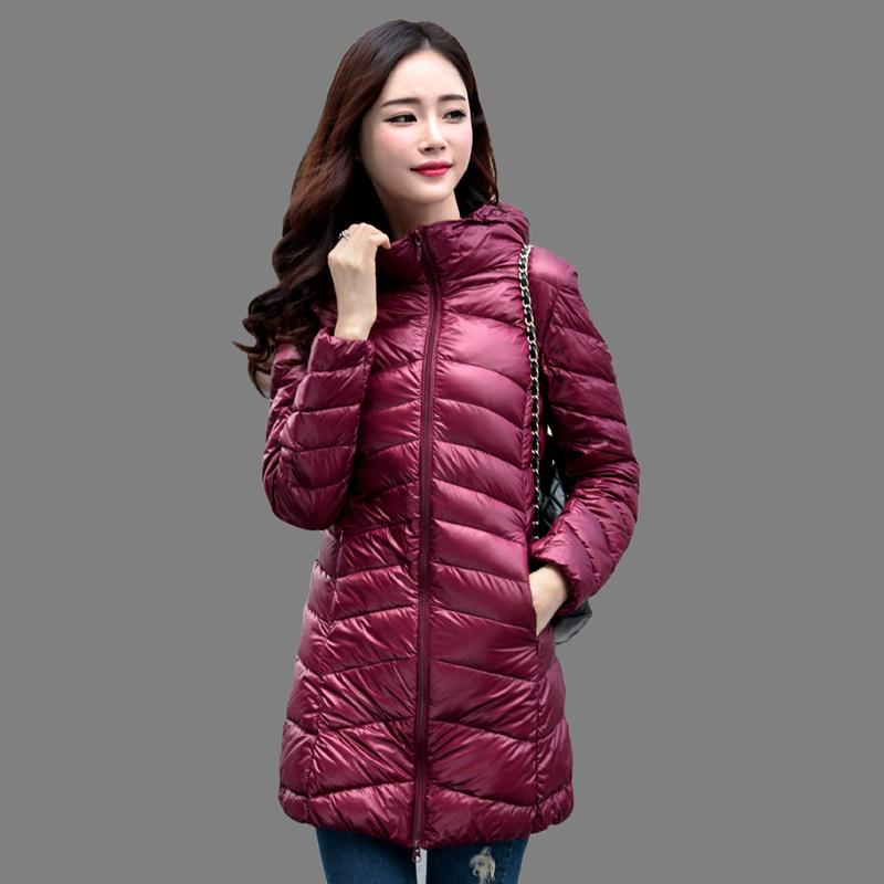 fa916d52049ea 2019 Women Winter Coat 2018 New 90% White Duck Down Jackets Slim Hooded  Long Down Coat Portable Plus Size Ultra Light Down Parkas S916 From  Ruiqi01