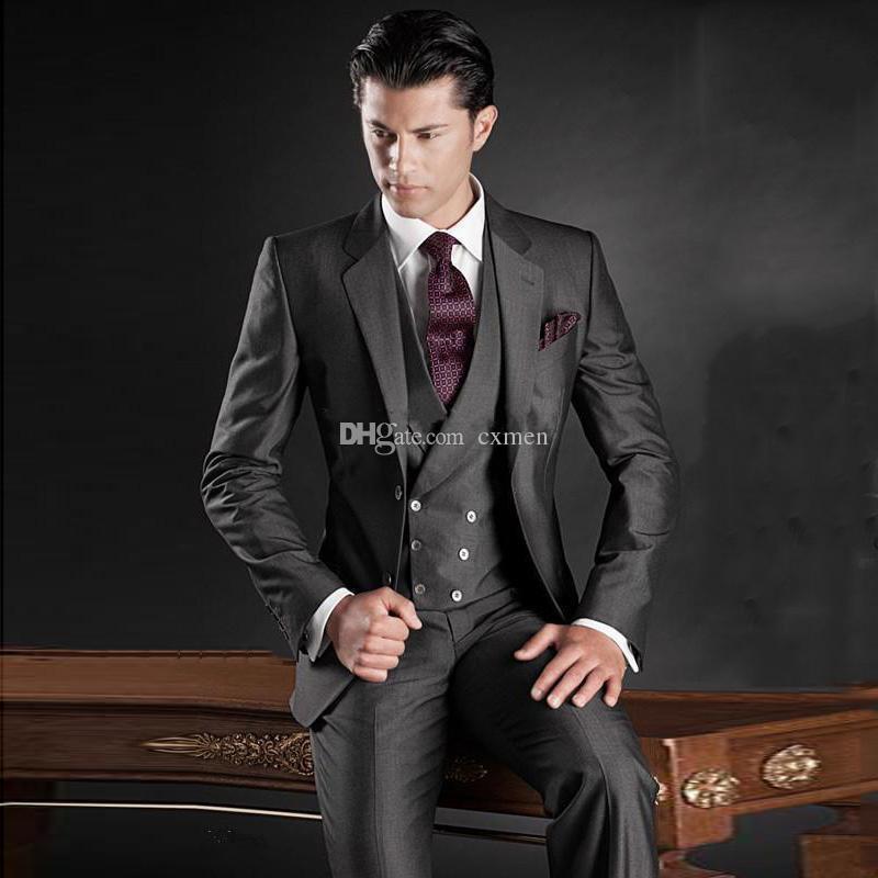 f22dc8a24b1 Italian Dark Grey Men Suits For Wedding Custom Made Groom Tuxedos Slim Fit Best  Man Blazers Jacket Pants Vest Groomsmen Suit Ternos Prom Tuxedos Styles Tux  ...