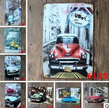 Acheter Métal Vintage Tin Signs Pour Mur Décor Londres Paris Ville