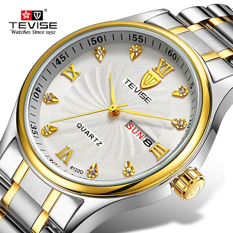 ea4a8e59263 Compre TEVISE Mulheres Relógios De Luxo Duplo Calendário Pulseira Relógio  De Senhoras Moda À Prova D  Água De Quartzo De Aço Relógios De Pulso Para  As ...