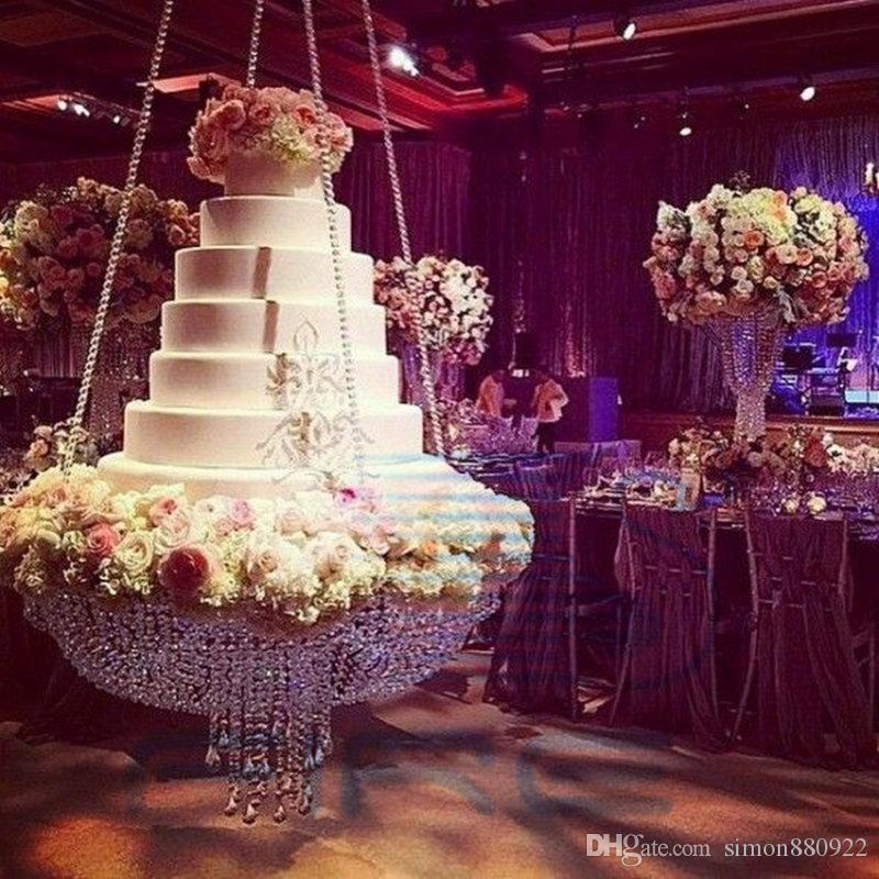 Wedding Glass Crystal Chandelier Style Drape Suspended Swing Cake Stand Round Main Table Decoration SizeDiameter 60cm 236