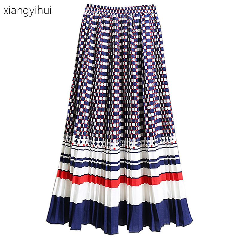 f73df60da1 2019 Preppy Style Women Chiffon Pleated Skirt New Autumn Winter Red Yellow  Print Tulle Long Skirt Ladies Vintage High Waist Skirts From Beenlo, ...