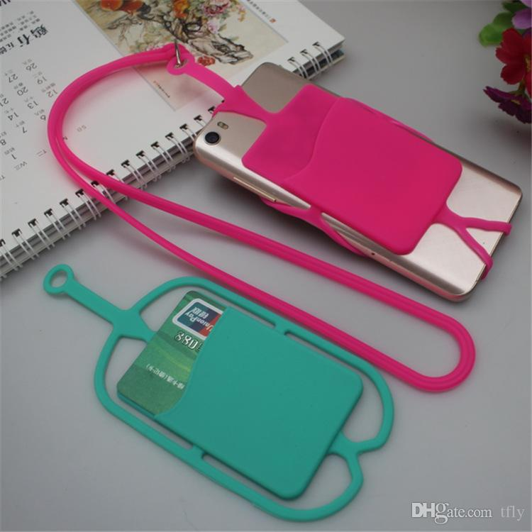 Universal mobile soft Silicone case with long Lanyard strap pouch ID card slot holder for iphone X 8 7 6 plus samsung S9 S8 plus smart phone