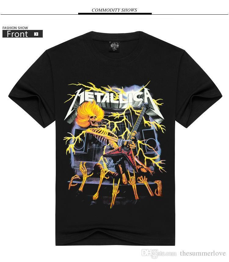 Compre Ropa De Verano Nueva Moda Del Dólar Europeo Llevó Algodón Puro  Metallica Banda De Metal 3d Camiseta De Manga Corta S 3xl Al Por Mayor. 5d90e6450c1